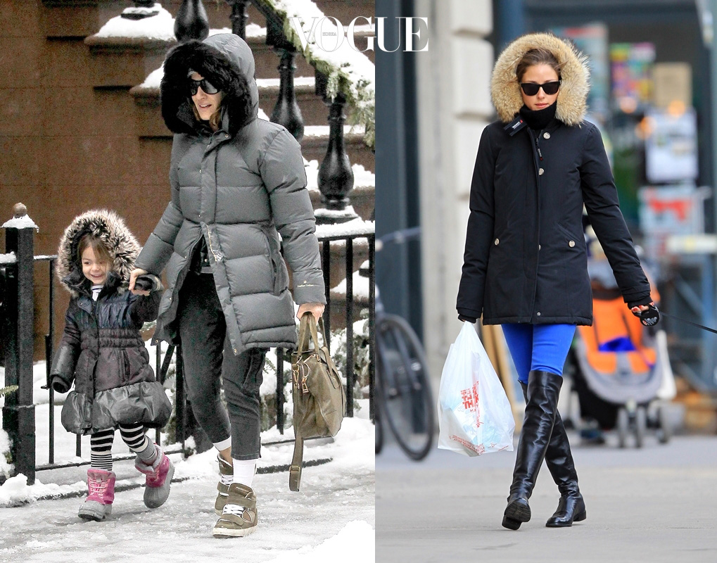 UK CLIENTS MUST CREDIT: AKM-GSI ONLY Sarah Jessica Parker braves the snowy weather to taker her little girls, Marion and Tabitha, to school this morning.  Sarah was bundled up in a grey bubble jacket with grey jeans and white tights underneath, along with wedge sneakers, exposing her ankles to the snow.  Marion and Tabitha looked adorable in matching jackets with leggings and snow boots. Pictured: Sarah Jessica Parker Ref: SPL694116  050214   Picture by: AKM-GSI / Splash News Splash News and Pictures Los Angeles:310-821-2666 New York:212-619-2666 London:870-934-2666 photodesk@splashnews.com