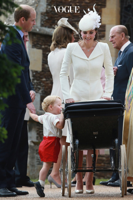 The Christening of Princess Charlotte at The Church of St Mary Magdalene, Sandringham, Norfolk, UK on the 5th July 2015. Picture by Chris Jackson/WPA-Pool Pictured: Prince William, Duke of Cambridge, Prince George, Duchess of Cambridge, Catherine, Kate Middleton, Princess Charlotte Ref: SPL1071558  050715   Picture by: Splash News Splash News and Pictures Los Angeles:310-821-2666 New York:212-619-2666 London:870-934-2666 photodesk@splashnews.com