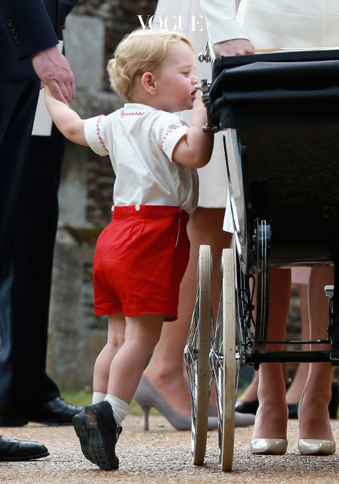 The Christening of Princess Charlotte at The Church of St Mary Magdalene, Sandringham, Norfolk, UK on the 5th July 2015. Picture by Chris Jackson/WPA-Pool Pictured: Prince George, Princess Charlotte Ref: SPL1071569  050715   Picture by: Splash News Splash News and Pictures Los Angeles:310-821-2666 New York:212-619-2666 London:870-934-2666 photodesk@splashnews.com