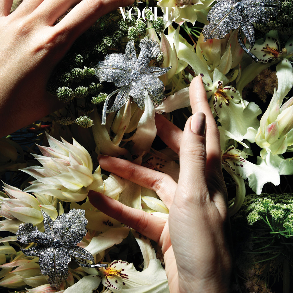 White Blushing Bride1920년대부터 1970년대까지 그 시대 유행한 예술적 운동이나 이국적인 모티브에서 영감을 받은 브로치는 요즘 유행하는 룩과도 멋지게 어울린다. 흐드러지게 피어난 다이아몬드 꽃, 카틀레야. '오키드', 1927년 제작.