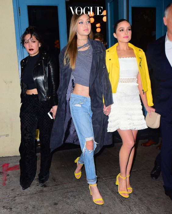 Gigi Hadid, Bella Hadid, Olivia Culpo and Joan Smalls were spotted heading back to Gigi's apartment after attending a Pencils of Promise x Stuart Weitzman event at Sadelle's in NYC. The Shoes for Schools campaign helped raise money to build 3 new schools. Gigi left holding hands with Olivia Culpo and Alana O'herlihy. Bella held hands with BFF Joan Smalls as they took the party back to Gigi's . Pictured: Gigi Hadid, Bella Hadid, Olivia Culpo, Joan Smalls, Alana O'herlihy Ref: SPL1261779  110416   Picture by: 247PAPS.TV / Splash News Splash News and Pictures Los Angeles:310-821-2666 New York:212-619-2666 London:870-934-2666 photodesk@splashnews.com