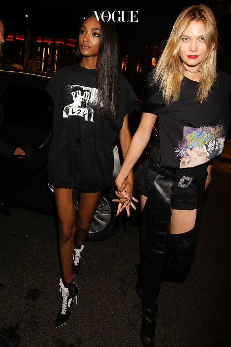EXCLUSIVE: Karlie Kloss & Jourdan Dunn seen arriving at Puma by Rihanna After Show Party during Paris Fashion Week Spring Summer 2017  Pictured: Jourdan Dunn and Karlie Kloss Ref: SPL1365192  280916   EXCLUSIVE Picture by: MCvitanovic / Splash News Splash News and Pictures Los Angeles:310-821-2666 New York:212-619-2666 London:870-934-2666 photodesk@splashnews.com