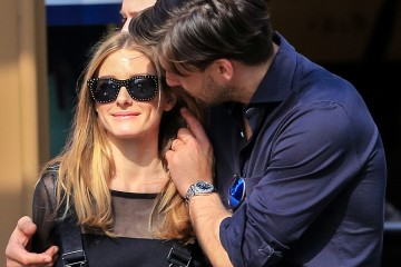 Olivia Palermo and fiance Johannes Huebl share a passionate kiss while on romantic stroll in West Village after lunch at Sant Ambroeus restaurant.  Pictured: Olivia Palermo and Johannes Huebl Ref: SPL738355  130414   Picture by: Allan Bregg/Splash News  Splash News and Pictures Los Angeles:	310-821-2666 New York:	212-619-2666 London:	870-934-2666 photodesk@splashnews.com