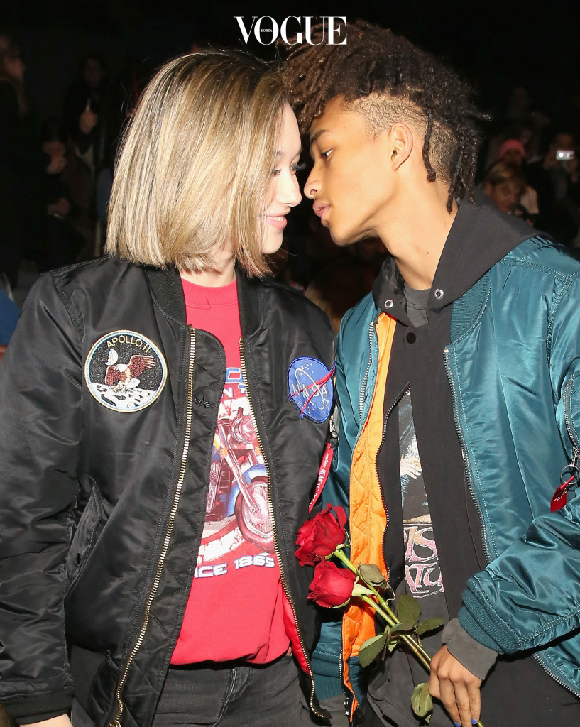 NEW YORK, NY - FEBRUARY 14:  Sarah Snyder (L) and actor Jaden Smith attend the Hood By Air Fall 2016 fashion show during New York Fashion Week: The Shows at The Arc, Skylight at Moynihan Station on February 14, 2016 in New York City.  (Photo by Monica Schipper/Getty Images for NYFW: The Shows)