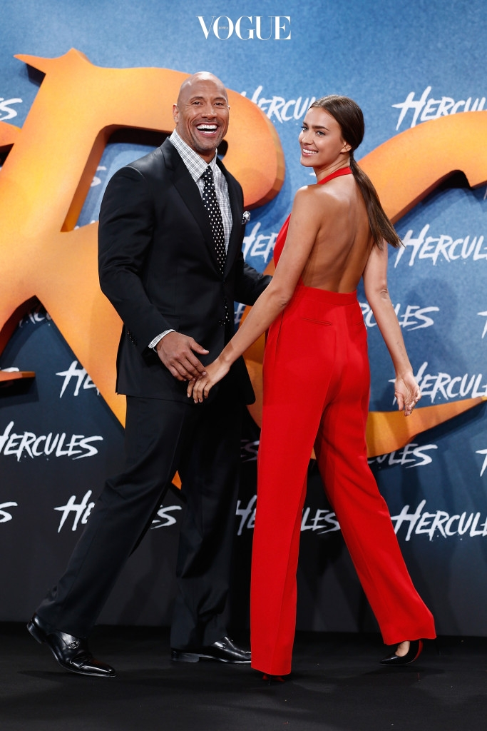 BERLIN, GERMANY - AUGUST 21:  Dwayne Johnson and Irina Shayk attend the Europe premiere of Paramount Pictures 'Hercules' at CineStar on August 21, 2014 in Berlin, Germany.  (Photo by Andreas Rentz/Getty Images for Paramount Pictures)