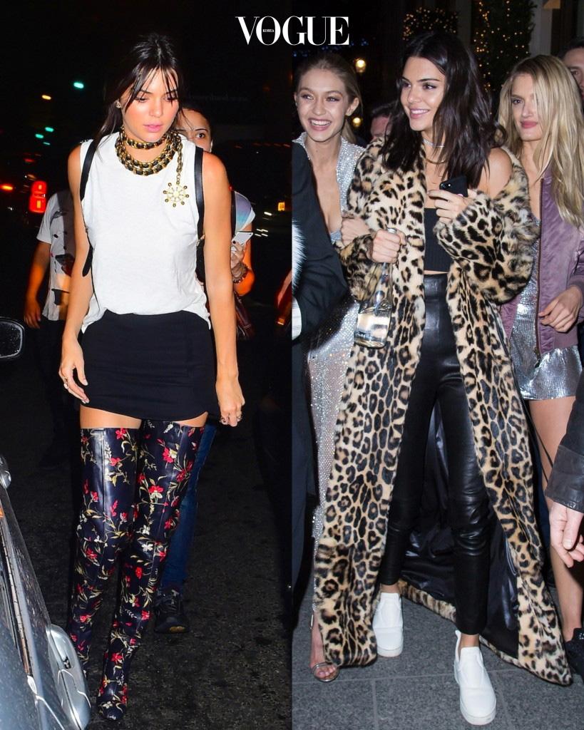 켄달 제너 Kendall Jenner 파티룩 포인트: 자칫 '투머치 스타일'로 여겨질 수 있는 패션이지만, 블랙과 화이트의 기본 아이템을 매치해 적절한 균형을 맞춤.