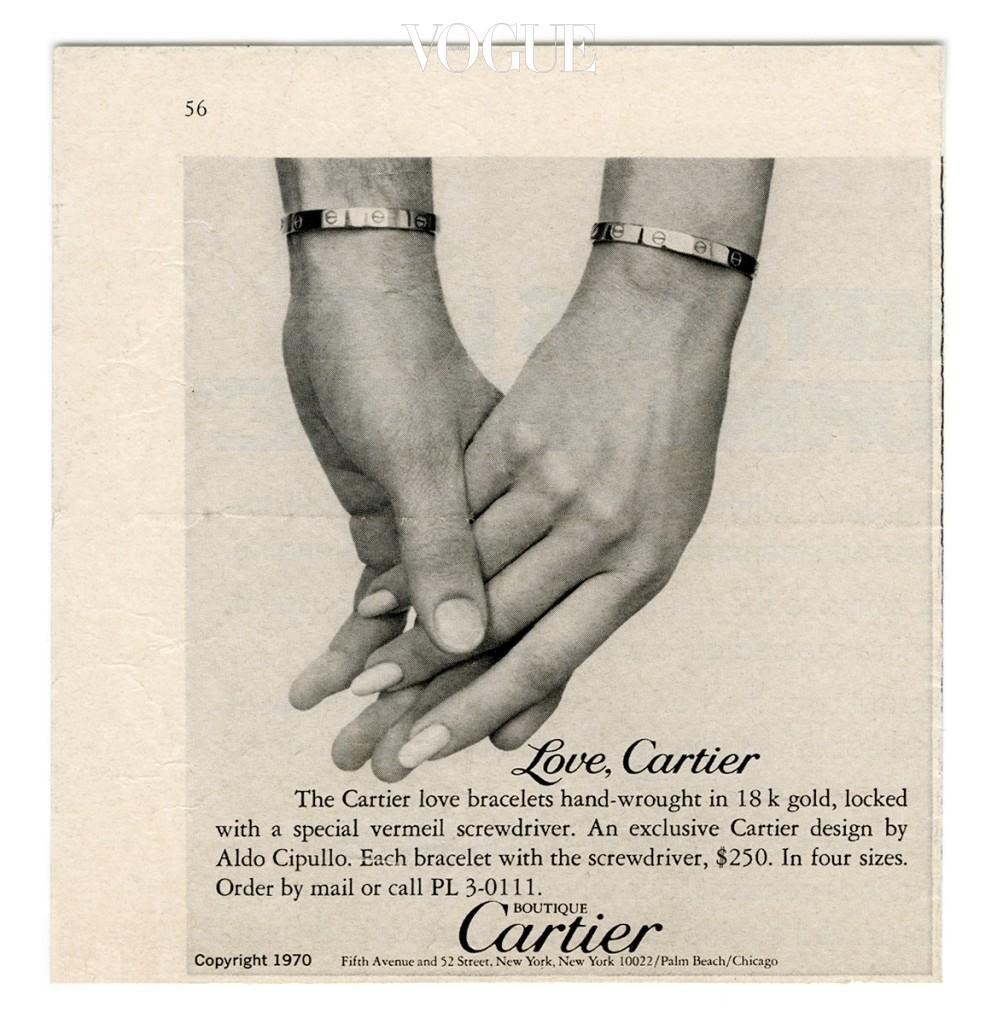 뉴욕 타임즈에 게시된 최초의 러브 브레이슬릿 광고 캠페인, 1970년.