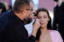PARIS, FRANCE - NOVEMBER 30:  Bella Hadid has her Hair & Makeup done prior the 2016 Victoria's Secret Fashion Show on November 30, 2016 in Paris, France.  (Photo by Dimitrios Kambouris/Getty Images for Victoria's Secret)