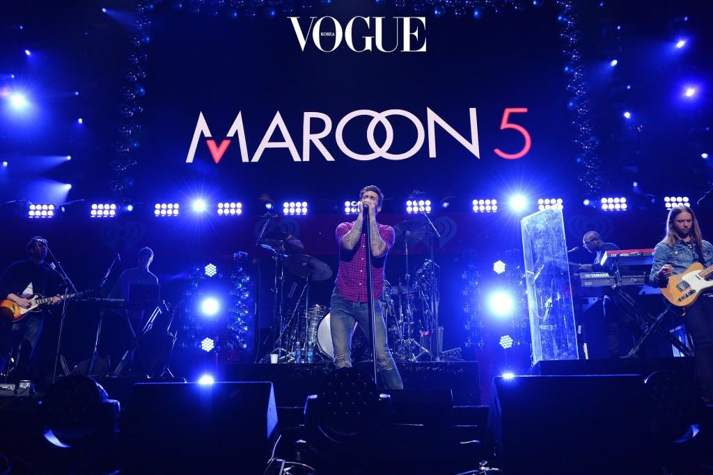 NEW YORK, NY - DECEMBER 12:  Maroon 5 performs onstage during iHeartRadio Jingle Ball 2014, hosted by Z100 New York and presented by Goldfish Puffs at Madison Square Garden on December 12, 2014 in New York City.  (Photo by Dimitrios Kambouris/Getty Images for iHeartMedia)