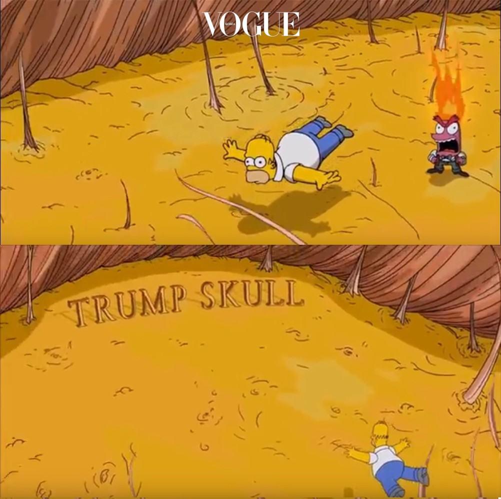 """애니메이션 '심슨네 가족들' 시즌 11, 17회 에피소드를 보셨나요?  '대통령 트럼프'를 예언한 것으로 뉴스에까지 등장했죠.  극중 호머 심슨은 도달드 트럼프의 뒷통수를 보며 생각해요. """"저걸 만지면, 내 탈모가 치료될까?""""  그리고는 그의 두피를 탐험하는 상상을 합니다. """"우와… 머리 숱이 정말 없구나."""""""