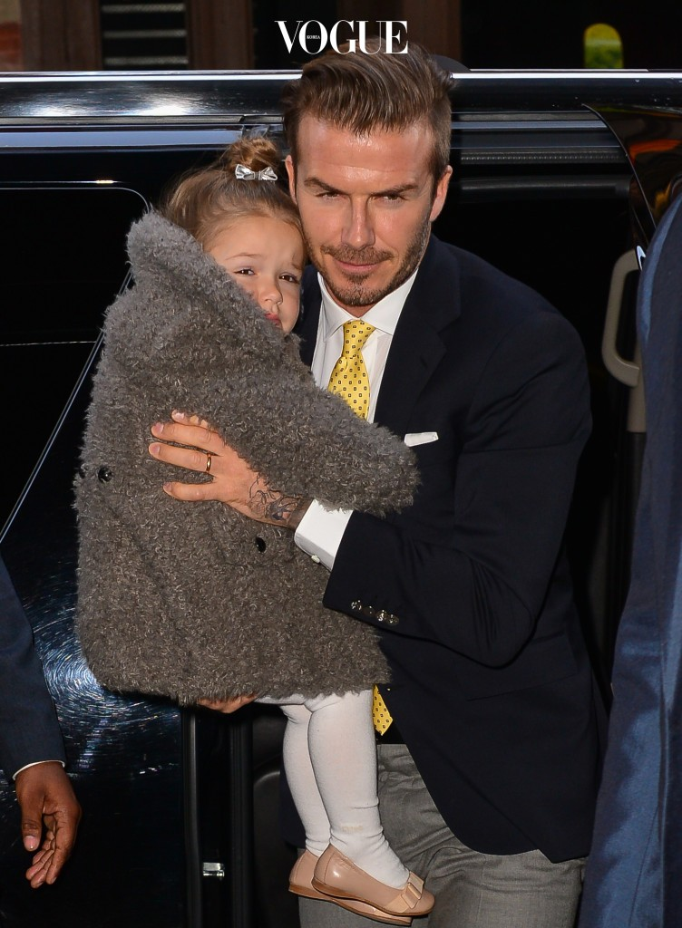 David Beckham seen with Harper and his sons in SoHo having lunch. Pictured: David Beckham and Harper Beckham Ref: SPL696858  090214   Picture by: Luca Chelsea / Splash News Splash News and Pictures Los Angeles:310-821-2666 New York:212-619-2666 London:870-934-2666 photodesk@splashnews.com