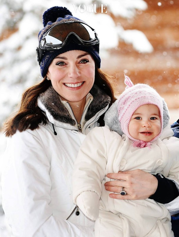 The Duke and Duchess of Cambridge, Prince George and Princess Charlotte enjoy a skiing holiday in the French Alps in France on the 7th March 2016. EDITORIAL USE ONLY  Picture by John Stillwell/WPA-Pool  Pictured: Duchess of Cambridge, Catherine, Kate Middleton, Princess Charlotte Ref: SPL1240472  070316   Picture by: Splash News  Splash News and Pictures Los Angeles:310-821-2666 New York:212-619-2666 London:870-934-2666 photodesk@splashnews.com