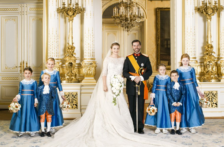 LUXEMBOURG - OCTOBER 20:  (NO SALES, NO ARCHIVE)  In this handout image provided by the Grand-Ducal Court of Luxembourg and  Princess Stephanie of Luxembourg and Prince Guillaume of Luxembourg  pose with Miss Isaure de le Court,  Countess Louise de Lannoy,  Mr Lancelot de le Court, Countess Caroline de Lannoy,  Miss Madeleine Hamilton and Mr Gabriel de Luxembourg for an official photo inside the Grand-Ducal Palace after their wedding ceremony at the Cathedral of our Lady of Luxembourg on October 20, 2012 in Luxembourg, Luxembourg. (Photo by Grand-Ducal Court of Luxembourg via Getty Images)