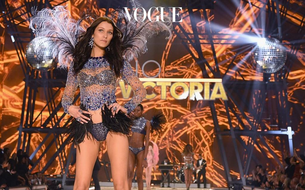PARIS, FRANCE - NOVEMBER 30:  Bella Hadid walks the runway during the 2016 Victoria's Secret Fashion Show on November 30, 2016 in Paris, France.  (Photo by Dimitrios Kambouris/Getty Images for Victoria's Secret)
