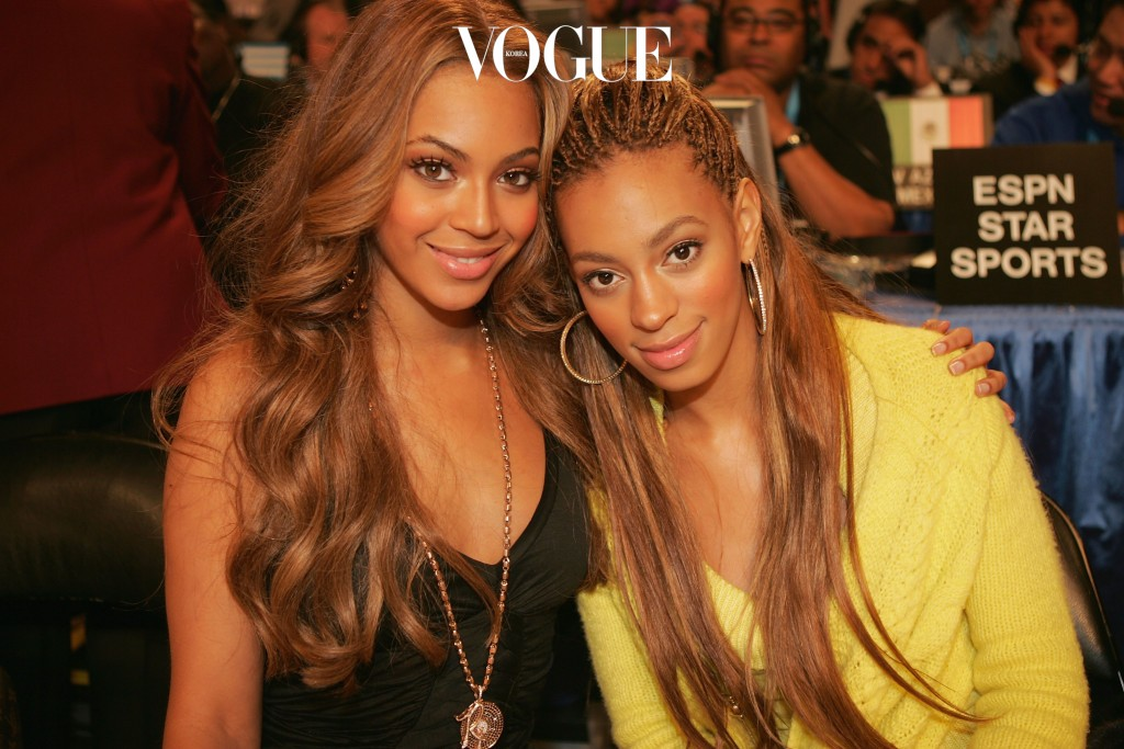 DENVER - FEBRUARY 20:  Beyonce Knowles of Destiny's Child and her sister Solange Knowles pose together at the 2005 NBA All Star Game at the Pepsi Center on February 20, 2005 in Denver, Colorado.  (Photo by Frank Micelotta/Getty Images)