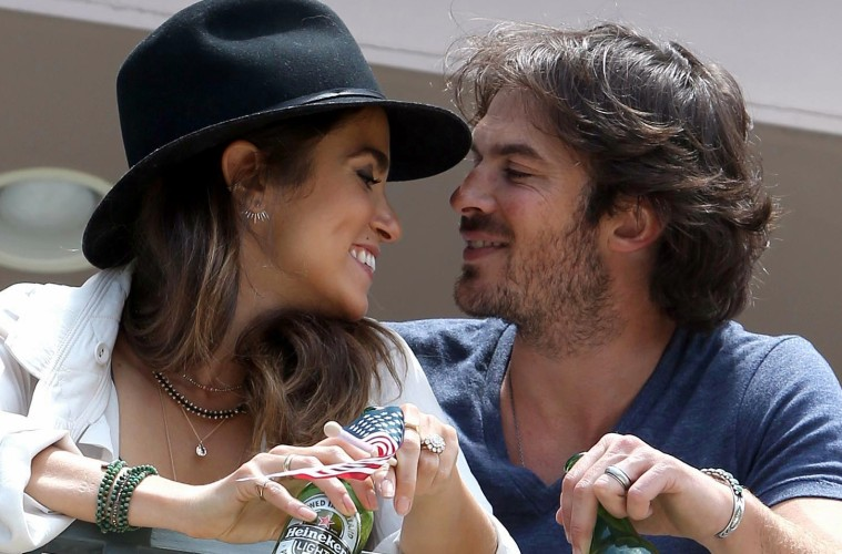 Newlyweds Ian Somerhalder and Nikki Reed kick back with Heineken Light over the 4th of July Weekend at a Private Malibu Beach House  Pictured: Ian Somerhalder and Nikki Reed Ref: SPL1072124  060715   Picture by: Splash News  Splash News and Pictures Los Angeles:	310-821-2666 New York:	212-619-2666 London:	870-934-2666 photodesk@splashnews.com