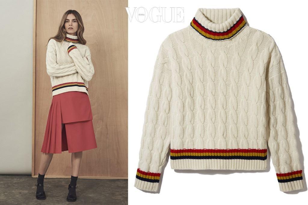 학창 시절을 떠오르게 하는 삼색 선 장식의 레트로풍 '더 크리켓' 케이블 스웨터는 앤 도터(and-daughter.com).