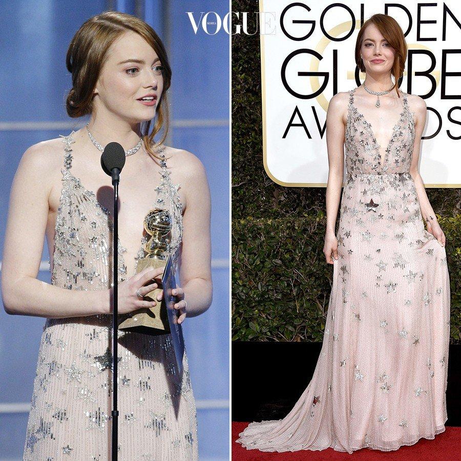 반짝이는 발렌티노 드레스를 입고 나타난 엠마스톤.