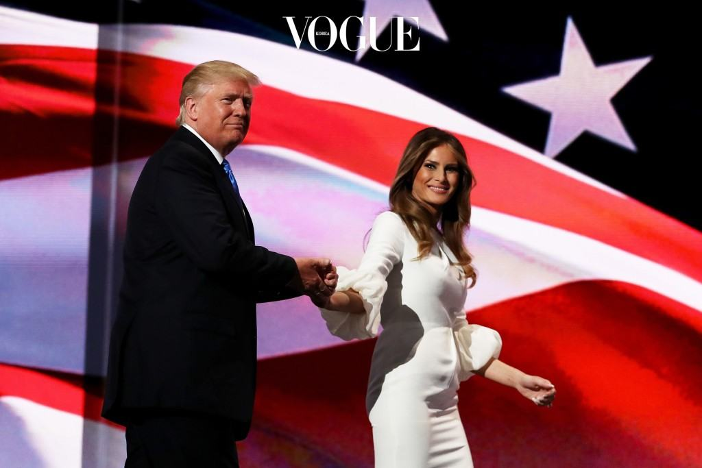 CLEVELAND, OH - JULY 18:  Presumptive Republican presidential nominee Donald Trump stands with his wife Melania after she delivered a speech on the first day of the Republican National Convention on July 18, 2016 at the Quicken Loans Arena in Cleveland, Ohio. An estimated 50,000 people are expected in Cleveland, including hundreds of protesters and members of the media. The four-day Republican National Convention kicks off on July 18.  (Photo by Joe Raedle/Getty Images)