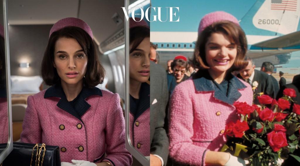 """케네디 암살 당시, 재키가 입었던 분홍색 샤넬 수트는 비극과 상반되는 색상으로 세계인에게 강렬히 각인됩니다. 뉴욕 패션 하우스 셰 니농(Chez Ninon)에서 제작한 이 의상은 재키의 상징이 되었죠. 퐁테인은 """"분홍색을 제대로 담아내려고 다양한 색채로 카메라 테스트를 했고, 결과적으로 다섯 벌을 만들었어요""""라고 밝혔죠."""