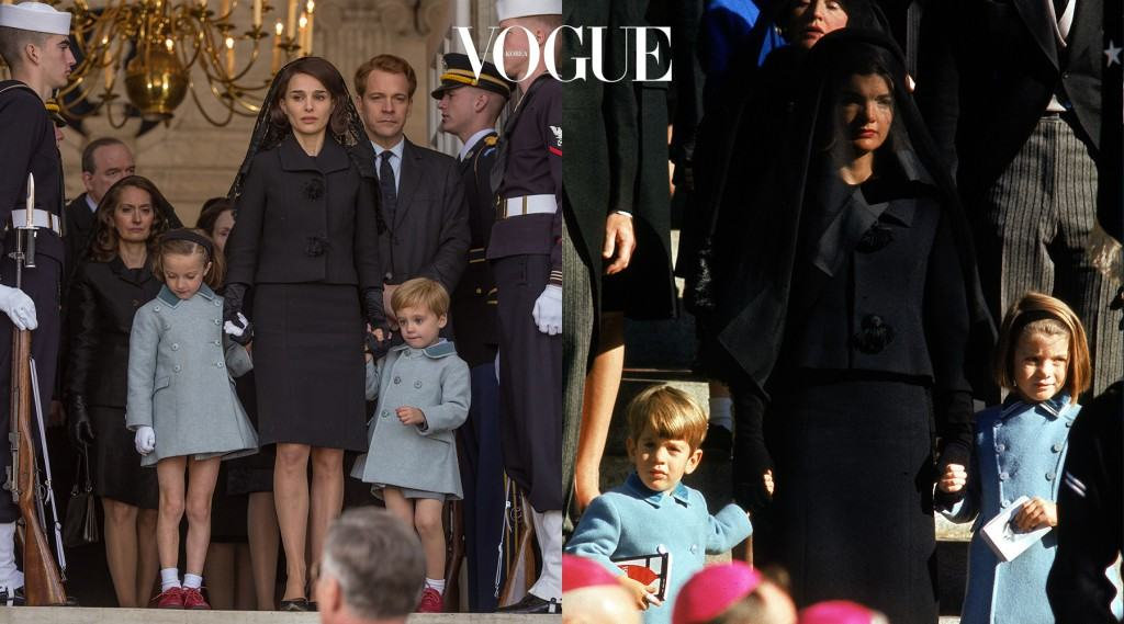 캐네디의 장례식에 두 아이의 손을 잡고 선 재키입니다. 아이들의 하늘색 의상과 재키의 검은 색 정장이 대비되며 더한 슬픔을 자아내죠.