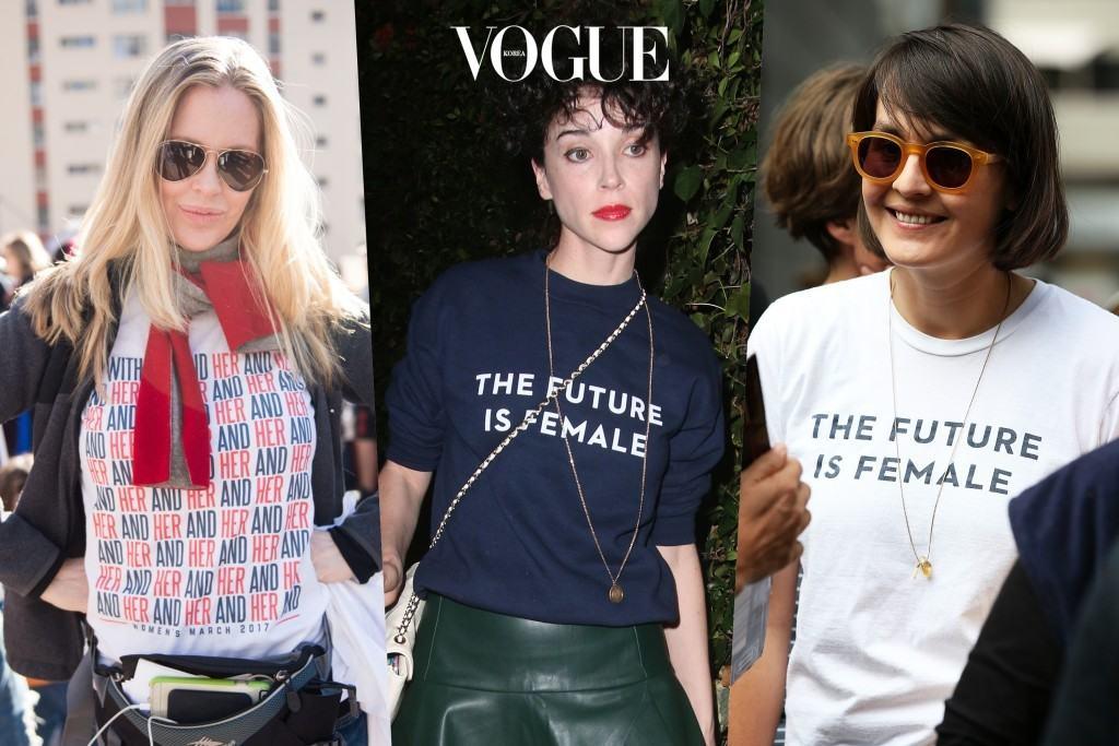 실제로 이미 다양한 브랜드에서 여성인권에 대한 다채로운 타이포그래피 프린트가 대중적인 사랑을 받고 있습니다. 1순위 위시리스트로 등극한 것이죠. 크리스틴 바우어 Kristin Bauer / 세인트 빈센트 St. Vincent /