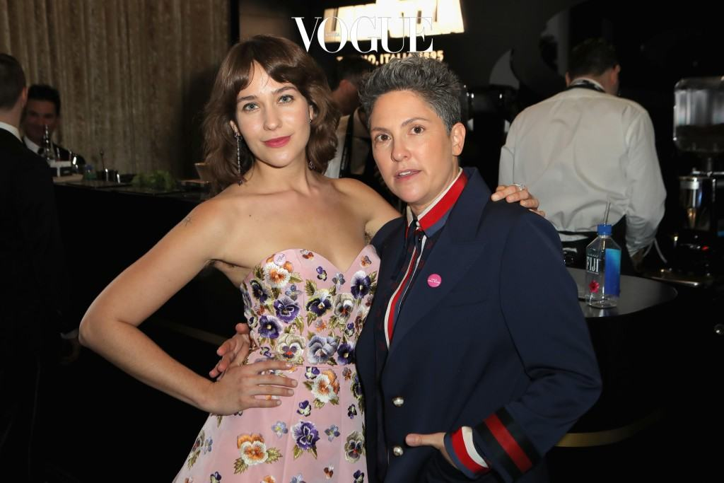 BEVERLY HILLS, CA - JANUARY 08:  Actress Lola Kirke (L) and writer/producer Jill Soloway attend the 74th Annual Golden Globe Awards sponsored by Lavazza, an Italian coffee brand at The Beverly Hilton Hotel on January 8, 2017 in Beverly Hills, California.  (Photo by Ari Perilstein/Getty Images for Lavazza)