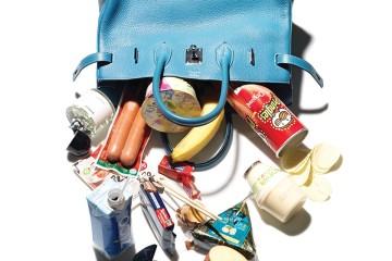 핸드백은 에르메스, 향수는 바이레도, 콤팩트와 립스틱은 샤넬, 반지는 불가리.