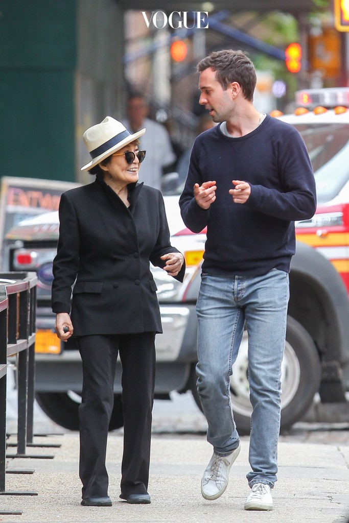 UK CLIENTS MUST CREDIT: AKM-GSI ONLY Yoko Ono, who is best-known to many people as John Lennon's wife and musical collaborator in the 1970s and his widow following his death in 1980, was in pretty good spirits as she was seen out and about in NYC with a friend. Pictured: Yoko Ono Ref: SPL1030510  180515   Picture by: AKM-GSI / Splash News