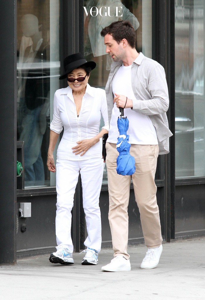 Yoko Ono pictured shopping in the Meatpacking District with a friend. Pictured: Yoko Ono Ref: SPL399672  300512   Picture by: SWAP / Splash News Splash News and Pictures Los Angeles:310-821-2666 New York:212-619-2666 London: 870-934-2666 photodesk@splashnews.com