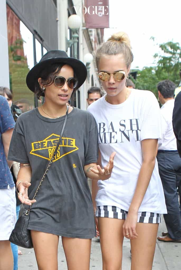 Zoe Kravitz and Cara Delevingne walk together in Soho after having lunch at Smile restaurant in New York City. Pictured: Zoe Kravitz and Cara Delevingne Ref: SPL824902  210814   Picture by: Splash News Splash News and Pictures Los Angeles:310-821-2666 New York:212-619-2666 London:870-934-2666 photodesk@splashnews.com