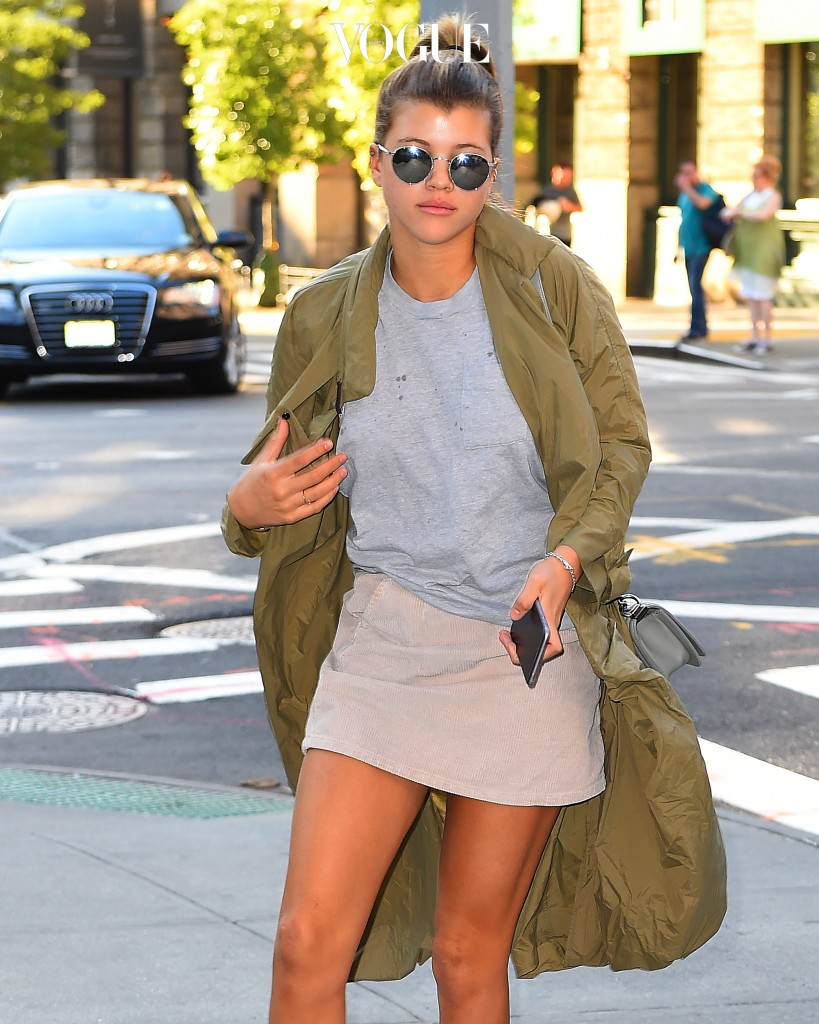 Sofia Richie wearing a green coat and pink skirt seen walking around New York City Pictured: Sofia Richie Ref: SPL1129724  170915   Picture by: RobO/Splash News Splash News and Pictures Los Angeles:310-821-2666 New York:212-619-2666 London:870-934-2666 photodesk@splashnews.com