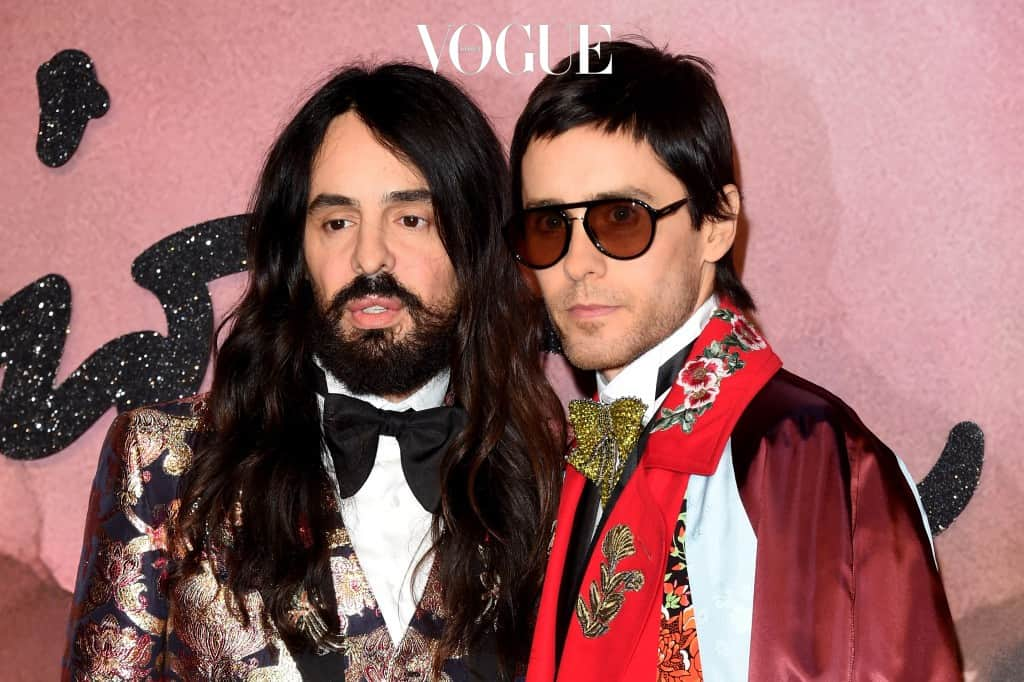 LONDON, ENGLAND - DECEMBER 05:  (L-R) Gucci designer Alessandro Michele and actor Jared Leto attend The Fashion Awards 2016 on December 5, 2016 in London, United Kingdom.  (Photo by Stuart C. Wilson/Getty Images)