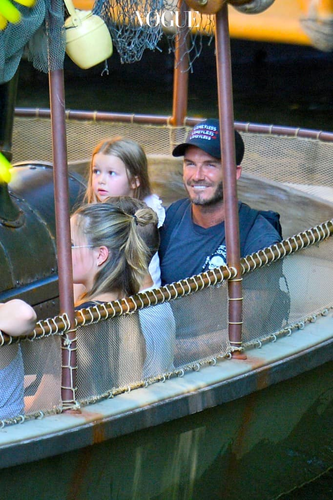 EXCLUSIVE: **NO WEB UNTIL 12PM GMT THURS AUG 27TH** David Beckham shares a sweet moment with his daughter Harper as he and his family enjoy a ride on the Jungle Cruise at Disneyland. David kissed his youngest, harper beckham on her arm as he and victoria and the rest of their children enjoyed a ride on the Jungle Cruise. The family were also joined by gordon ramses's family. Pictured: David Beckham, Victoria Beckham, Haper Beckham, Romeo beckham, Cruz Beckham and Brooklyn Beckham Ref: SPL1109290  250815   EXCLUSIVE Picture by: Fern Sharpshooter / Splash News Splash News and Pictures Los Angeles:310-821-2666 New York:212-619-2666 London:870-934-2666 photodesk@splashnews.com