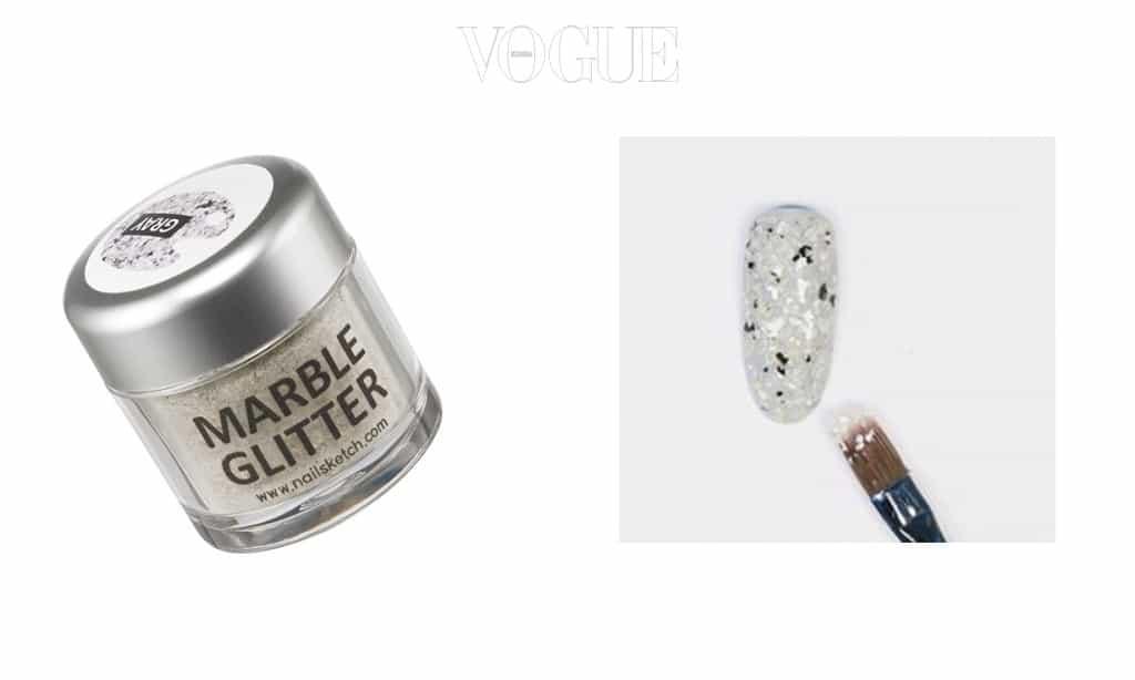 손톱마다 고급스러운 대리석을 깔고 싶다면? 반짝반짝한 대리석 효과의 글리터가 있답니다. 베이스 컬러를 바른 뒤 네일 라커에 글리터를 섞고 한번 발라주면 완성!