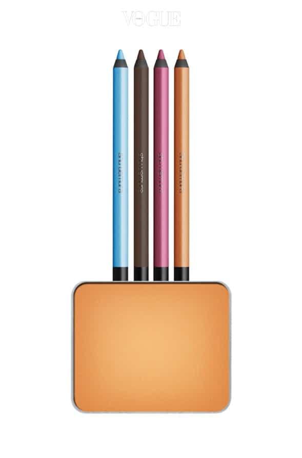 (위부터)슈에무라 '드로잉 펜슬 P Baby Blue 62, M Dark Brown 83, ME Pink 12, Light Orange 21', '컬러 아틀리에 프레스드 아이섀도우 P241'.