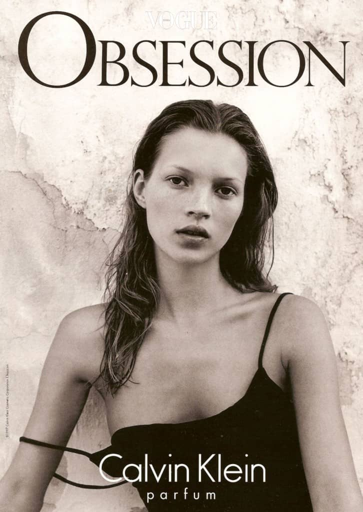 Kate Moss for Calvin Klein Obsession in '97.