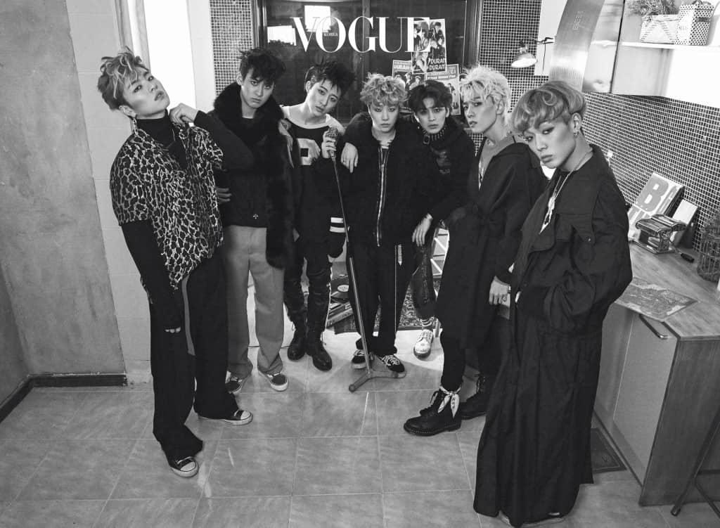 (왼쪽부터)준회가 입은 검정 터틀넥은 톰 포드(Tom Ford), 레오퍼드 셔츠는 생로랑(Saint Laurent at Boon The Shop), 옷핀 모양 귀고리는 H.R, 금색 레터링 목걸이는 피스마이너스원(Peaceminusone). 찬우가 입은 맨투맨은 페이스 커넥션(Faith Connexion at Tom Greyhound), 팬츠는 구찌(Gucci). B.I가 입은 럭비복 같은 톱은 푸시버튼(Pushbutton), 진환의 퍼 블루종은 드레스캠프(Dresscamp). 윤형이 입은 스트라이프 집업은 J.W. 앤더슨(J.W. Anderson at 10 Corso Como), 후드 톱은 발렌시아가(Balenciaga at Boon The Shop), 흰색 구두는 닥터마틴(Dr. Martens). 동혁이 입은 분홍색 니트는 구찌, 루스한 핏의 코트는 마르니(Marni at Mue), 검은색 워커는 닥터마틴. 바비의 오버사이즈 검정 트렌치 코트는 라프 시몬스(Raf Simons).