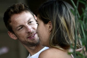 EXCLUSIVE: F1 Racing car driver Jenson Button gets cozy with his girlfriend Brittny Ward as they having lunch along Sunset Boulevard in West Hollywood, Ca  Pictured: Jenson Button and Brittny Ward Ref: SPL1372270  111016   EXCLUSIVE Picture by: GoldenEye / London Entertainment  Splash News and Pictures Los Angeles:310-821-2666 New York:212-619-2666 London:870-934-2666 photodesk@splashnews.com