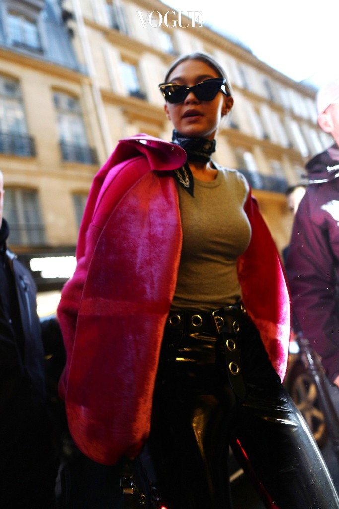 Gigi Hadid seen arriving at the Chanel store in Paris, France.  Pictured: Gigi Hadid Ref: SPL1456666  050317   Picture by: Splash News Splash News and Pictures Los Angeles:310-821-2666 New York:212-619-2666 London:	870-934-2666 photodesk@splashnews.com