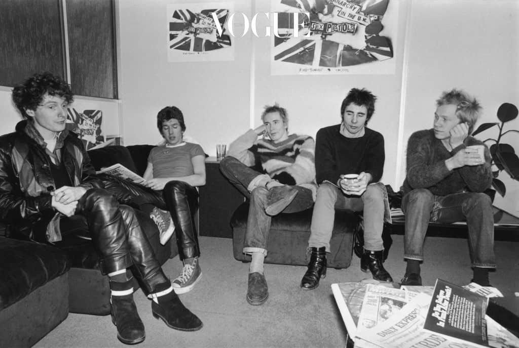 Notorious British punk rock band The Sex Pistols at the EMI studios, 2nd December 1976.  From left to right, manager Malcolm McLaren, Steve Jones, Johnny Rotten (John Lydon), Glen Matlock and Paul Cook. (Photo by R. Jones/Evening Standard/Hulton Archive/Getty Images)