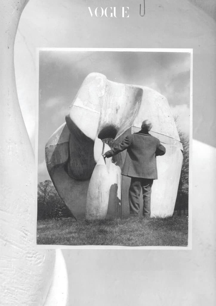 Henry Moore with the Fibreglass Locking Piece 1963-64, Hertfordshire c.1968.Photo_ John Hedgecoe. Henry Moore Archive