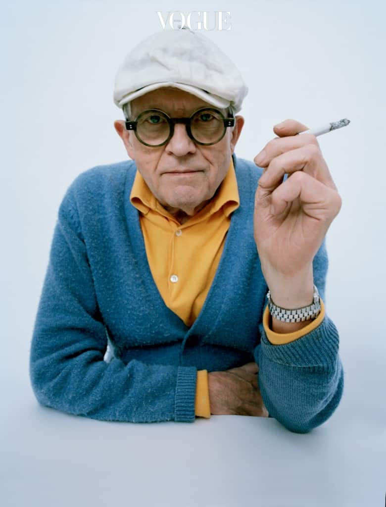 Feature, article, David Hockney, fans and friends, celebrate, artist, portrait, interviews, perspective, cigarette