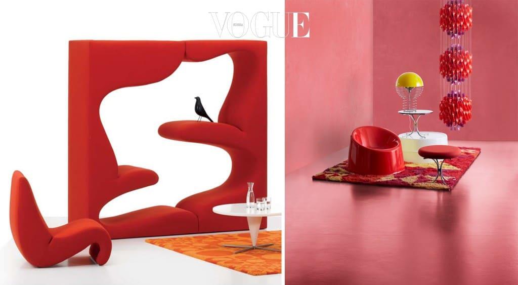 """비트라(Vitra)t사의 리빙타워 (Living Tower, 좌)와 팬톤이 디자인 한 체어와 러그, 테이블과 조명들(우). """"색채는 형태보다 더 중요하다""""라고 했을 정도로 색채를 중요시 했으며 원색이나 채도가 높은 색상을 좋아했는데 특히 그는 빨간색을 무척 좋아하는 '레드' 성애자(?)였다."""
