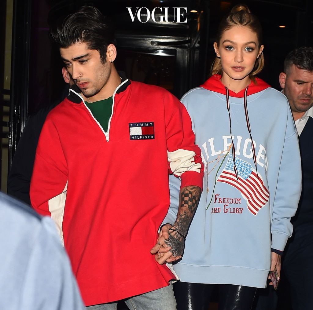 Zayn Malik & Gigi Hadid are seen with Bella Hadid  at the Tommy Hilfiger after party at La Perousse restaurant in Paris Pictured: Zayn Malik , Gigi Hadid, Bella Hadid Ref: SPL1453441  280217   Picture by: Neil Warner / Splash News Splash News and Pictures Los Angeles:310-821-2666 New York: 212-619-2666 London:870-934-2666 photodesk@splashnews.com