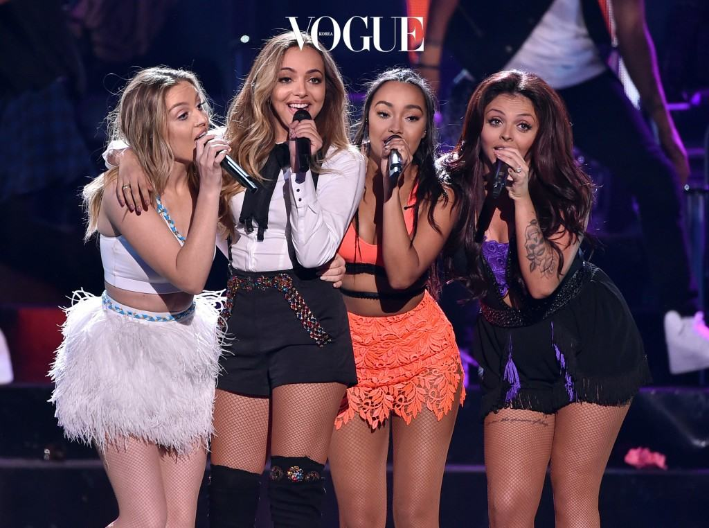LOS ANGELES, CA - AUGUST 16:  (L-R) Singers Perrie Edwards, Jade Thirlwall, Leigh-Anne Pinnock and Jesy Nelson of Little Mix perform onstage during the Teen Choice Awards 2015 at the USC Galen Center on August 16, 2015 in Los Angeles, California.  (Photo by Kevin Winter/Getty Images)