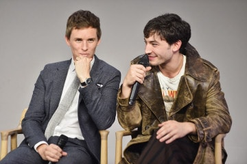 "NEW YORK, NY - NOVEMBER 09:  Actors Eddie Redmayne and Ezra Miller attend the Apple Store Soho presentation of Meet the Cast: ""Fantastic Beasts And Where To Find Them"" at Apple Store Soho on November 9, 2016 in New York City.  (Photo by Michael Loccisano/Getty Images)"