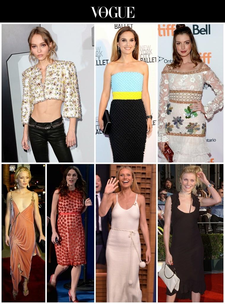 어여쁜 얼굴과 늘씬한 몸매를 지녔지만  골반이 상대적으로 좁거나 허리가 통자라 '11자 몸매'를 갖게 된 그들. Lily-Rose Depp/ Natalie Portman/ Anne Hathaway/ Kate Hudson/ Keira Knightley/ Gwyneth Paltrow/ Cameron Diaz