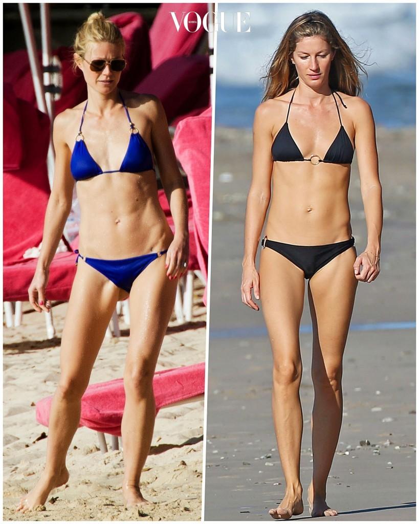 불과 얼마 전까지는 쭉 뻗은 길쭉길쭉한 모델 몸을 더 선호했던 것도 사실이고요. (여신 몸매의 주인공인 지젤 번천과 기네스 펠트로가 '통짜 몸매'로 손꼽힌다는 사실이 참 아이라니하죠?!) Gwyneth Paltrow/ Gisele Bündchen