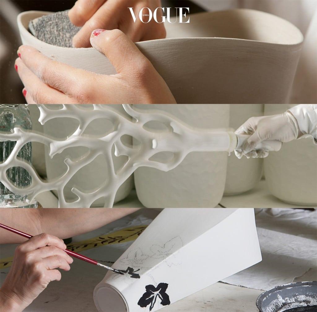 보사(BOSA)의 작업공정들. 1.  전통방식 그대로 작업하는 반죽과 성형. 2. 독창적 개발에 의해 완성된 유약과 초벌구이. 3. 보사가 자랑하는 다양한 컬러와 수제작 페인팅.